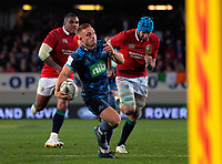 Ihaia West runs in the matchwinner during the 2017 DHL Lions Series rugby union match between the Blues and British & Irish Lions at Eden Park in Auckland, New Zealand on Wednesday, 7 June 2017. Photo: Dave Lintott / lintottphoto.co.nz