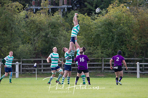Leicester, England, 9th, September, 2017. <br /> <br /> Action in the National League 2 North rugby union match between Leicester Lions rfc and South Leicester rfc.  Daniel Ireland in line out action for South Leicester<br /> <br /> <br /> <br /> <br /> &copy; Phil Hutchinson