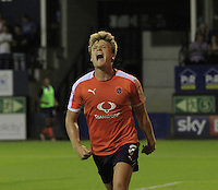 Cameron McGeehan of Luton Town roars with delight after putting his side 1-0 up during the Sky Bet League 2 match between Luton Town and Newport County at Kenilworth Road, Luton, England on 16 August 2016. Photo by Liam Smith.