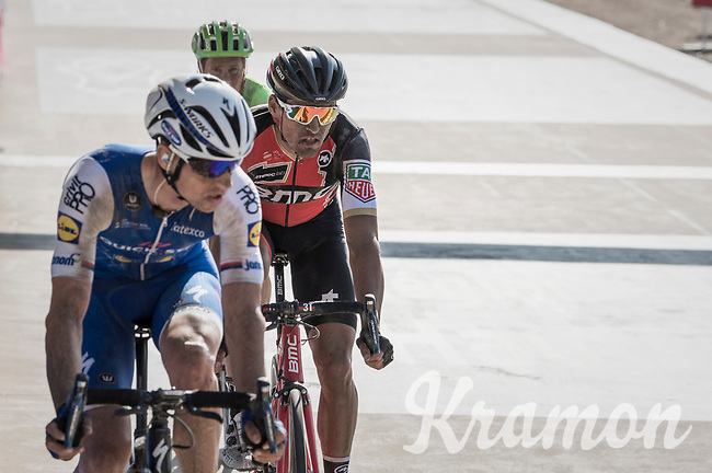 Zdenek Stybar (CZE/Quick Step Floors) keeping an eye on Greg Van Avermaet (BEL/BMC) for the finish sprint with 1 lap to go in the legendary Roubaix velodrome<br /> <br /> 115th Paris-Roubaix 2017 (1.UWT)<br /> One Day Race: Compi&egrave;gne &rsaquo; Roubaix (257km)