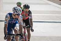 Zdenek Stybar (CZE/Quick Step Floors) keeping an eye on Greg Van Avermaet (BEL/BMC) for the finish sprint with 1 lap to go in the legendary Roubaix velodrome<br /> <br /> 115th Paris-Roubaix 2017 (1.UWT)<br /> One Day Race: Compiègne › Roubaix (257km)