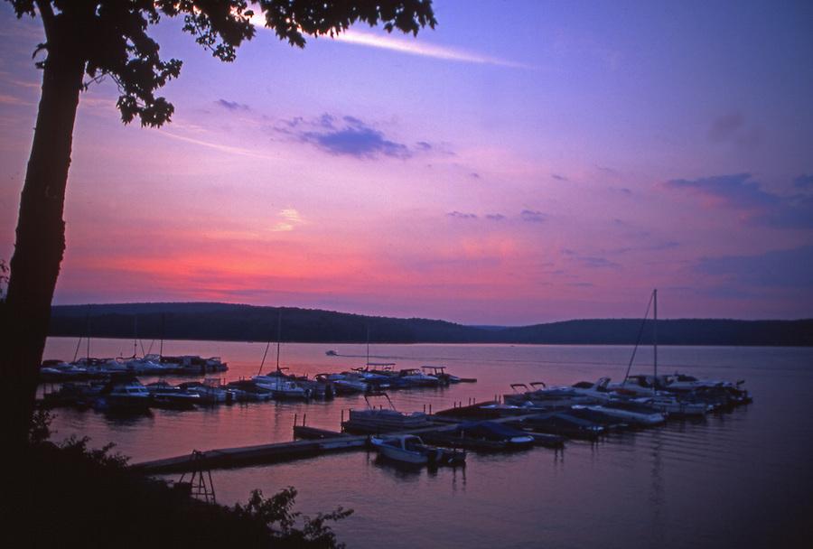 Sunset and docks on Lake Wallenpaupack, Pennsylvania