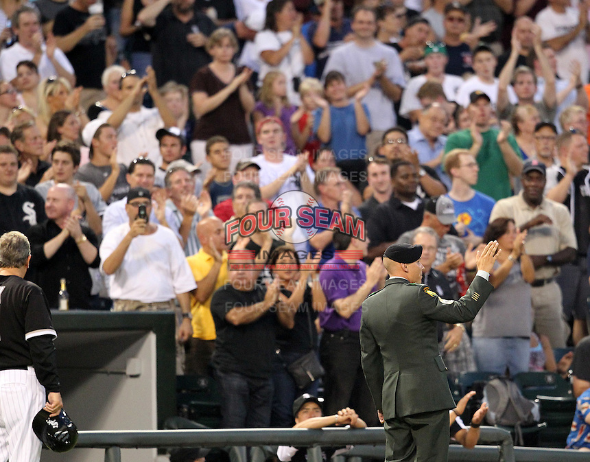 Chicago White Sox honor a soldier of the game during a game vs. the Detroit Tigers at U.S. Cellular Field in Chicago, Illinois August 13, 2010.   Chicago defeated Detroit 8-4.  Photo By Mike Janes/Four Seam Images