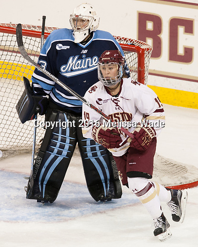 Carly Jackson (Maine - 33), Makenna Newkirk (BC - 19) - The Boston College Eagles defeated the visiting University of Maine Black Bears 2-1 on Saturday, October 8, 2016, at Kelley Rink in Conte Forum in Chestnut Hill, Massachusetts.  The University of North Dakota Fighting Hawks celebrate their 2016 D1 national championship win on Saturday, April 9, 2016, at Amalie Arena in Tampa, Florida.
