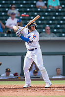 Mesa Solar Sox second baseman David Bote (15), of the Chicago Cubs organization, at bat during a game against the Salt River Rafters on October 18, 2017 at Sloan Park in Mesa, Arizona. The Rafters defeated the Solar Sox 6-5.(Zachary Lucy/Four Seam Images)