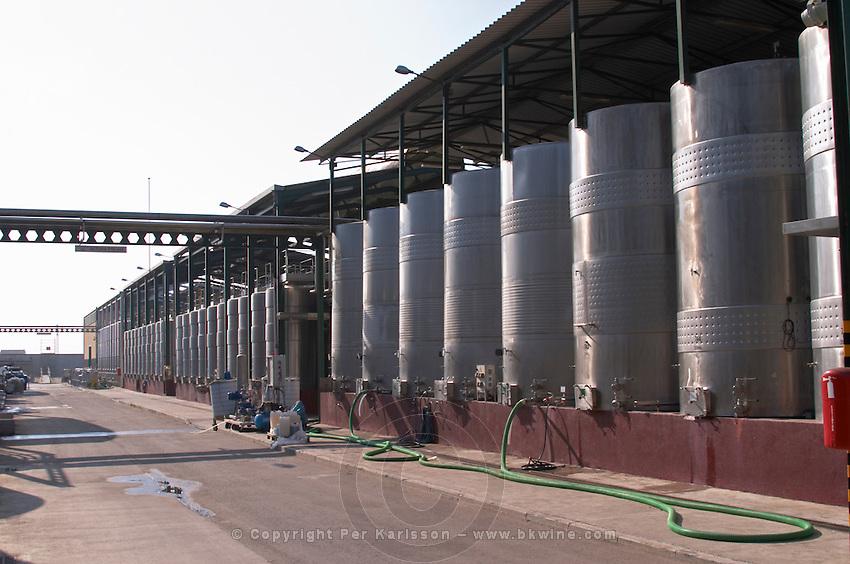 Outside fermentation tanks. Fermentation tanks. Torres Penedes Catalonia Spain