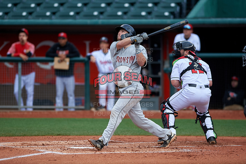 Wisconsin Timber Rattlers catcher David Fry (10) during a Midwest League game against the Lansing Lugnuts at Cooley Law School Stadium on May 1, 2019 in Lansing, Michigan. Wisconsin defeated Lansing 8-3 after the game was suspended from the previous night. (Zachary Lucy/Four Seam Images)