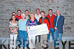 PRESENTATION: Kerry Mountain Rescue received a cheque for 2,000 from the Camp Walking Festival Committee on Friday night last at The Railway Tavern, Camp, Tralee. Front row l-r: Laura Moynihan, Ann O'Neill, Breda O'Connor (secretary, Camp Walking Committee), Gerry Christy (chairperson of KMR) and Martin Murphy. Back row l-r: Seamus O'Shea, Darragh and Thomas Crowley, Declan Bulman and John Cronin..