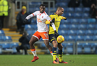 Blackpool's Viv Solomon-Otabor battles with Oxford United's Wes Thomas<br /> <br /> Photographer Mick Walker/CameraSport<br /> <br /> The EFL Sky Bet League One - Rochdale v Blackpool - Monday 1st January 2018 - Spotland Stadium - Rochdale<br /> <br /> World Copyright &copy; 2018 CameraSport. All rights reserved. 43 Linden Ave. Countesthorpe. Leicester. England. LE8 5PG - Tel: +44 (0) 116 277 4147 - admin@camerasport.com - www.camerasport.com