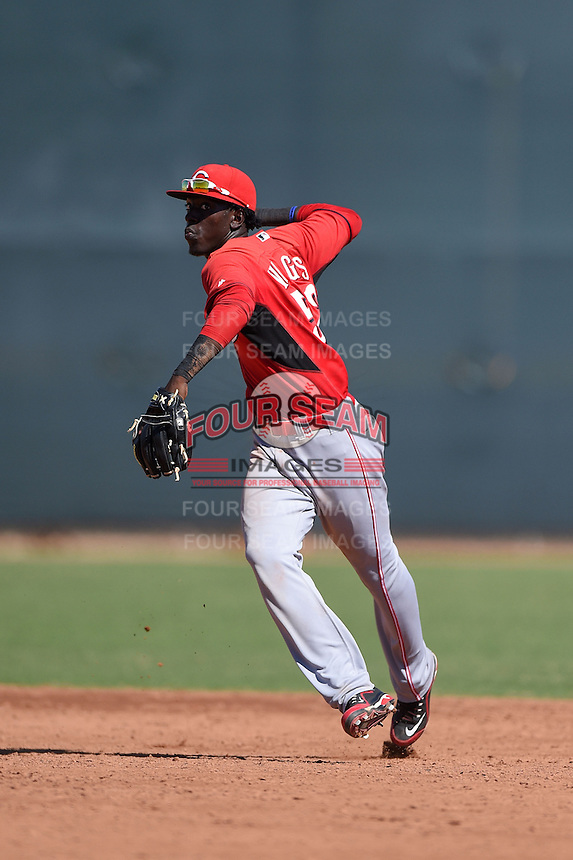 Cincinnati Reds second baseman Franklin Vargas (52) during an Instructional League game against the Los Angeles Dodgers on October 11, 2014 at Goodyear Training Complex in Goodyear, Arizona.  (Mike Janes/Four Seam Images)