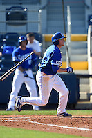 Indiana State Sycamores infielder Derek Hannahs (5) at bat during a game against the Vanderbilt Commodores on February 21, 2015 at Charlotte Sports Park in Port Charlotte, Florida.  Indiana State defeated Vanderbilt 8-1.  (Mike Janes/Four Seam Images)