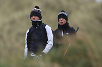 Pariac McGrath (Cregmore) and Aaron Blair (Scrabo) on the 13th tee during Round 2 of the Ulster Boys Championship at Portrush Golf Club, Portrush, Co. Antrim on the Valley course on Wednesday 31st Oct 2018.<br /> Picture:  Thos Caffrey / www.golffile.ie<br /> <br /> All photo usage must carry mandatory copyright credit (&copy; Golffile | Thos Caffrey)