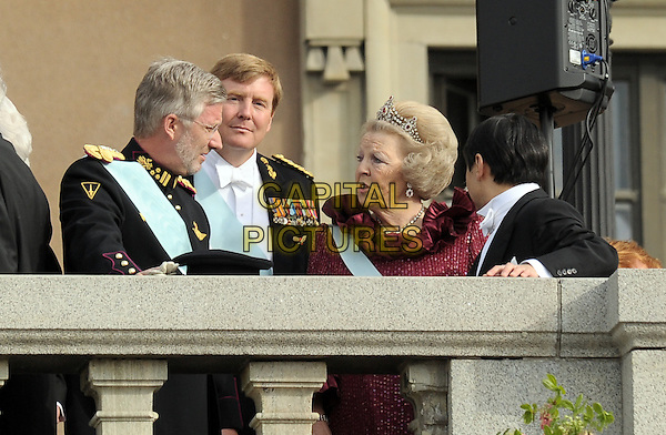 CROWN PRINCE PHILIPPE OF BELGIUM, CROWN PRINCE WILLWM-ALEXANDER, QUEEN BEATRIX OF NETHERLANDS & PRINCE NARUHITO OF JAPAN.Wedding Of Swedish Crown Princess Victoria and Daniel Westling, Princess Couple at Lejonbacken Terrace at the Royal Palace, Stockholm, Sweden,.19th June 2010.half length crown tiara red blue sash .CAP/RD .©Richard Dean/Capital Pictures