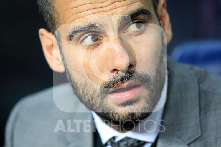 Barcelona coach Pep Guardiola during the UEFA Champions League quarter final second leg match between Barcelona and Arsenal at Camp Nou on April 6, 2010 in Barcelona, Spain.