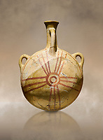 Bronze Age Anatolian decorated terra cotta water flask - Kültepe Kanesh - Museum of Anatolian Civilisations, Ankara, Turkey.  Against a warn art background.
