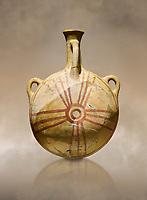 Bronze Age Anatolian decorated terra cotta water flask - Kültepe Kanesh - Museum of Anatolian Civilisations, Ankara, Turkey.  Against a warn art background.