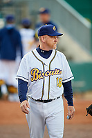 Montgomery Biscuits pitching coach R.C. Lichtenstein (18) before a game against the Mississippi Braves on April 24, 2017 at Montgomery Riverwalk Stadium in Montgomery, Alabama.  Montgomery defeated Mississippi 3-2.  (Mike Janes/Four Seam Images)