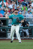 Mike Morrison #25 of the Coastal Carolina Chanticleers throws during a College World Series Finals game between the Coastal Carolina Chanticleers and Arizona Wildcats at TD Ameritrade Park on June 28, 2016 in Omaha, Nebraska. (Brace Hemmelgarn/Four Seam Images)