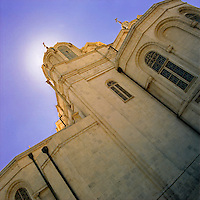 The Church of the Holy Trinity (Russian Orthodox) in the center of Jerusalem (Israel) backlit by the morning sun.