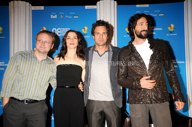 WWW.ACEPIXS.COM . . . . .....September 10, 2008. Toronto, Canada....Writer/director Rian Johnson, actors Rachel Weisz, Mark Ruffalo and Adrien Brody attend the 'Brothers Bloom' Press Conference during the 2008 Toronto International Film Festival at the Sutton Place Hotel on September 9, 2008 in Toronto, Canada...  ....Please byline: Kristin Callahan - ACEPIXS.COM..... *** ***..Ace Pictures, Inc:  ..Philip Vaughan (646) 769 0430..e-mail: info@acepixs.com..web: http://www.acepixs.com