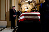 United States Attorney General William P. Barr pays his respects to US Representative Elijah Cummings (Democrat of Maryland) as Cummings lies in state outside of the House Chamber in the Will Rogers corridor of the U.S. Capitol in Washington, DC on October 24th, 2019. <br /> Credit: Anna Moneymaker / Pool via CNP