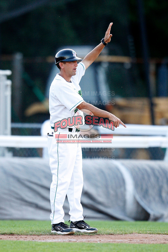 July 16, 2009:  Manager Andy Haines of the Jamestown Jammers  during a game at Russell Diethrick Park in Jamestown, NY.  The Jammers are the NY-Penn League Short-Season Single-A affiliate of the Florida Marlins.  Photo By Mike Janes/Four Seam Images