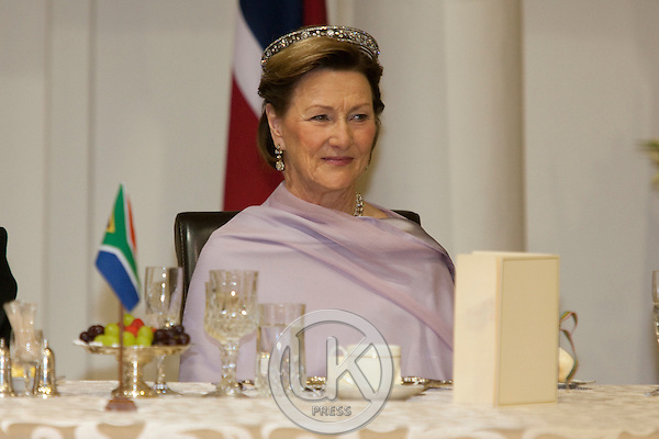 King Harald, and Queen Sonja of Norway, State visit to South Africa..attend a State Banquet given by HE Mr Jacob Zuma, President of The Republic of South Africa, and his wife Mantuli Zuma, at The Presidentail Guest House in Pretoria.