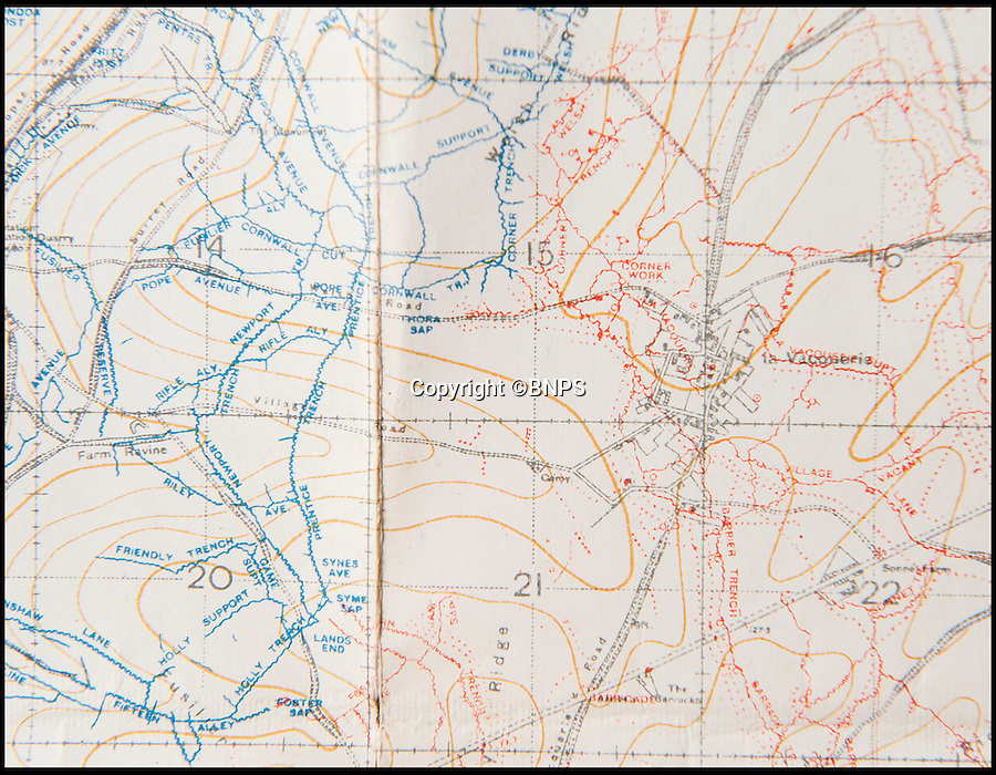 BNPS.co.uk (01202 558833)<br /> Pic: PhilYeomans/BNPS<br /> <br /> Trench maps showing the close proximity of Allied (blue) and German (red) trenches.<br /> <br /> Poignant time capsule trunk from the Great War rediscovered...<br /> <br /> An incredible 'time capsule' trunk containing the personal effects of a tragic World War One officer that his grieving family shut away in 1918 has been unearthed - almost 100 years later.<br /> <br /> The military items belonged to Second Lieutenant Charles Bodman, from Marshfield, Glos, who was killed three months before the end of the war in 1918.<br /> <br /> After his death all his possessions, including his uniforms, caps, brass badges, detailed trench maps, orders, handbooks, photographs, German souveniers, letters, water bottles, lanyard and even spent bullets, were sent back to his widowed mother Sarah who locked them away in the trunk.