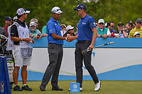 Hideki Matsuyama (JPN) shakes hands with Henrik Stenson (SWE) before round 1 of the AT&amp;T Byron Nelson, Trinity Forest Golf Club, Dallas, Texas, USA. 5/9/2019.<br /> Picture: Golffile | Ken Murray<br /> <br /> <br /> All photo usage must carry mandatory copyright credit (&copy; Golffile | Ken Murray)