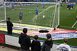 Young fans watching the home team warming up before Preston North End take on Reading in an EFL Championship match at Deepdale. The home team won the match 1-0, Jordan Hughill scoring the only goal after 22nd minutes, watched by a crowd of 11,174.