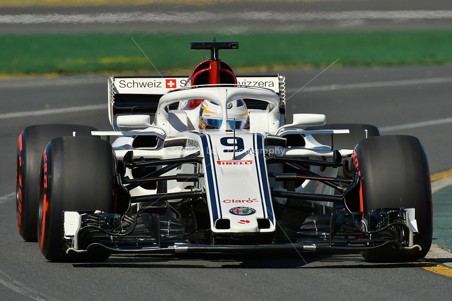 March 23, 2018: Marcus Ericsson (SWE) #9 from the Alfa Romeo Sauber F1 Team during practice session one at the 2018 Australian Formula One Grand Prix at Albert Park, Melbourne, Australia. Photo Sydney Low