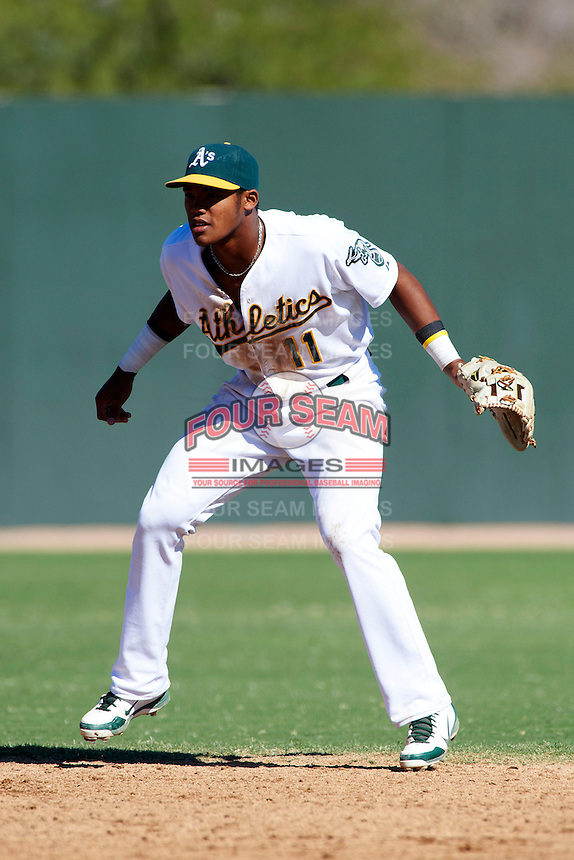 Oakland Athletics minor league infielder Addison Russell #11 during an instructional league game against the San Francisco Giants at the Papago Park Baseball Complex on October 17, 2012 in Phoenix, Arizona. (Mike Janes/Four Seam Images)