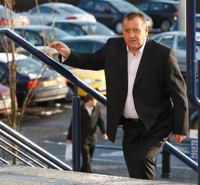 Jimmy Calderwood arrives at Hampden for the SPL managers' meeting