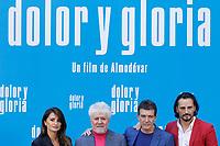 MADRID, SPAIN-March 12:  Penelope Cruz, Pedro Almodovar, Antonio Banderas and Asier Etxeandia attend the Dolor y Gloria photocall at the Villamagna hotel in Madrid, Spain on the 12th of March of 2019. March12, 2019. ***NO SPAIN***<br /> CAP/MPI/RJO<br /> &copy;RJO/MPI/Capital Pictures