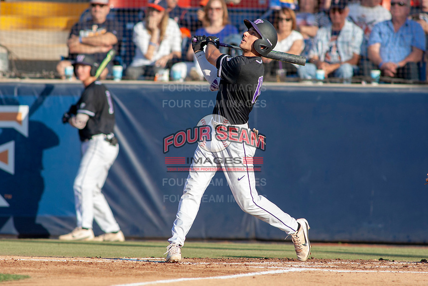 University of Washington Huskies AJ Graffanino (11) follows through on his swing against the Cal State Fullerton Titans at Goodwin Field on June 10, 2018 in Fullerton, California. The Huskies defeated the Titans 6-5. (Donn Parris/Four Seam Images)