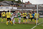 Aberystwyth Town 1 Newtown 2, 17/05/2015. Park Avenue, Europa League Play Off final. A goalmouth scramble as Aberystwyth search for an equaliser. Aberystwyth finished 14 points above Newtown in the Welsh Premier League, but were beaten 1-2 in the Play Off Final. Photo by Paul Thompson.