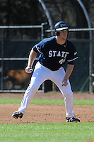 All American Paul Hoilman #44 of East Tennessee State University takes a lead off first base at Greenwood Field against the the University of North Carolina Asheville on March 2, 2011 in Asheville, North Carolina.  East Tennessee State University won 13-5.  Photo by Tony Farlow / Four Seam Images..