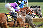 July 12, 2014: #6 Princess of Sylmar, Javier Castellano up, heads to the first turn. The overwhelming betting favorite in the race, she finished second. Belle Gallantey, Jose Ortiz up, wins the Grade I Delaware Handicap at Delaware Park in Stanton Delaware. Trainer is Rudy Rodriguez; Owners are Michael Dubb, Bethlehem Stabes LLC and Gary Aisquith ©Joan Fairman Kanes/ESW/CSM