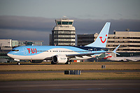 A TUI Boeing 737 MAX 8 Registration G-TUMB named Menorca at Manchester Airport on 11.2.19 going to Funchal Cristiano Ronaldo Airport, Portugal.
