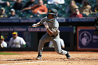 Josh Holt Jr. (1) of the Missouri Tigers squares to bunt against the Baylor Bears in game one of the 2020 Shriners Hospitals for Children College Classic at Minute Maid Park on February 28, 2020 in Houston, Texas. The Bears defeated the Tigers 4-2. (Brian Westerholt/Four Seam Images)