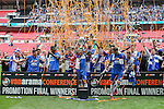 Bristol Rovers celebrate winning the 2015 Vanarama Conference Promotion Final match between Grimsby Town and Bristol Rovers at Wembley Stadium, London<br /> Picture by David Horn/eXtreme aperture photography +44 7545 970036<br /> 17/05/2015
