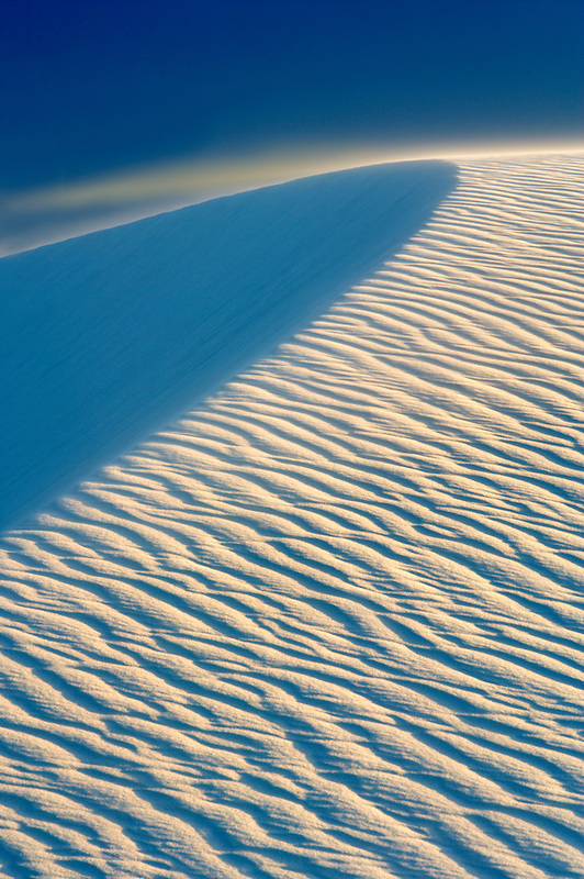Knife edged dune with blowing sand. White Sands National Monument. New Mexico