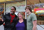 Lawrence Saint-Victor and fan and Zack Conroy - Guiding Light's actors meet fans at Stacy Jo's Ice Cream in McKees Rocks, PA on September 30, 2009. During the weekend of events proceeds from pink ribbon bagel sales at various Panera Bread locations will benefit the Young Women's Breast Cancer Awareness Foundation. (Photo by Sue Coflin/Max Photos)