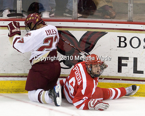 Malcolm Lyles (BC - 23), Joe Pereira (BU - 6) - The Boston University Terriers defeated the Boston College Eagles 5-4 (OT) on Friday, January 22, 2010, at Conte Forum in Chestnut Hill, Massachusetts.