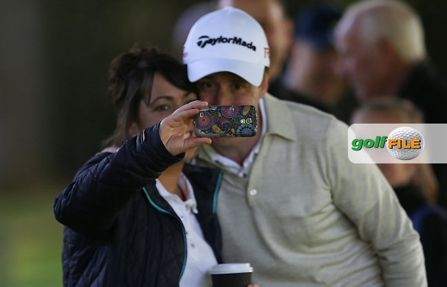 Anton Du Beke amongst the trees down the 17th and has time for a selfie during the Pro-Am ahead of the 2015 BMW PGA Championship over the West Course at Wentworth, Virginia Water, London. Picture David lloyd, www.golffile.ie: 20/05/2015