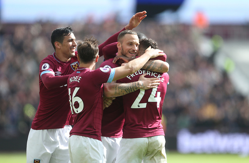 West Ham United's Ryan Fredericks is congratulated after scoring his side's third goal<br /> <br /> Photographer Rob Newell/CameraSport<br /> <br /> The Premier League - West Ham United v Southampton - Saturday 4th May 2019 - London Stadium - London<br /> <br /> World Copyright © 2019 CameraSport. All rights reserved. 43 Linden Ave. Countesthorpe. Leicester. England. LE8 5PG - Tel: +44 (0) 116 277 4147 - admin@camerasport.com - www.camerasport.com