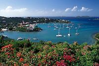 St. John, U.S. Virgin Islands, Caribbean, USVI, Scenic view of Cruz Bay on Saint John Island.