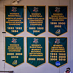 19 January 2019: University of Vermont Catamount Women's Basketball banners hang at Patrick Gymnasium in Burlington, Vermont. Mandatory Credit: Ed Wolfstein Photo *** RAW (NEF) Image File Available ***