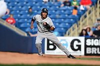 Dayton Dragons outfielder Jon Matthews (29) leads off first during a game against the Lake County Captains on June 7, 2014 at Classic Park in Eastlake, Ohio.  Lake County defeated Dayton 4-3.  (Mike Janes/Four Seam Images)