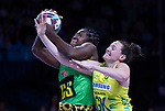 Fast5 2017<br /> Fast 5 Netball World Series<br /> Hisense Arena Melbourne<br /> Match <br /> Australia v Jamaica<br /> Vangelee Williams Jamaica in battle against Sam Pullman of Australia<br /> <br /> <br /> <br /> <br /> Photo: Grant Treeby